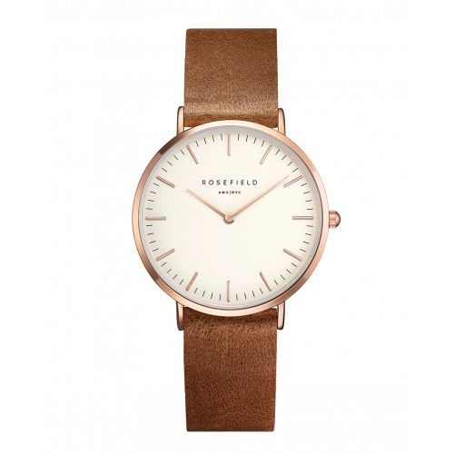 Rose gold ladies watch Tribeca - brown leather strap | ROSEFIELD Watches