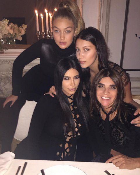 """Pin for Later: The Fashion Crew Got All Laced Up For Last Night's Dinner Party  Kim Instagrammed a photo from Carine Roitfeld's dinner party with the caption, """"Girls Girls Girls Girls @carineroitfeld @gigihadid @bellahadid."""""""