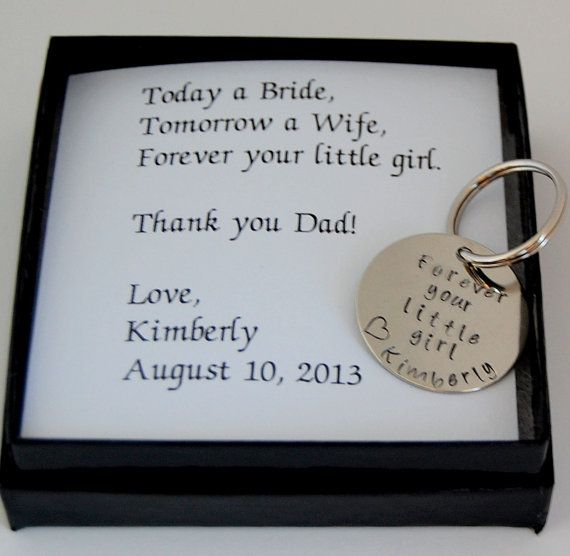 Father of the Bride Gift, Gift for Father of the Bride, Personalized Nickel silver keychain, complete boxed gift set for father of bride
