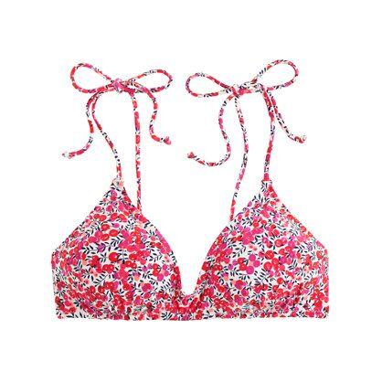 Shoulder-tie French bikini top in Liberty Art Fabrics Wiltshire print