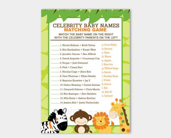 Jungle Celebrity Names Game. Here's a fun baby shower game that has guests matching up celebrity's silly baby names with their parents. It's a great conversation starter and will fill any lull in the shower. Easy to print and use right away, and very affordable.