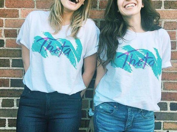 Jazzy Theta Crew   On Site   Kappa Alpha Theta   Retro   Bid Day Shirts   Sorority Apparel