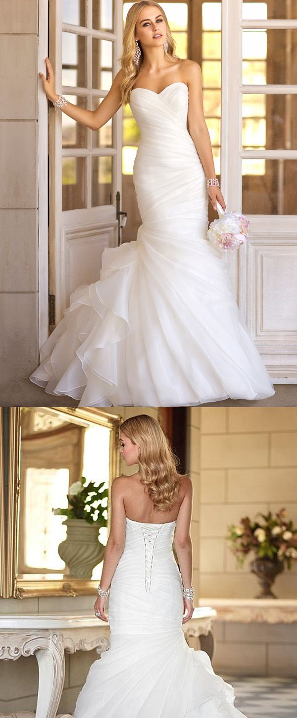 Gorgeous Organza Satin Sweetheart Neckline Natural Waistline Mermaid Wedding Dress