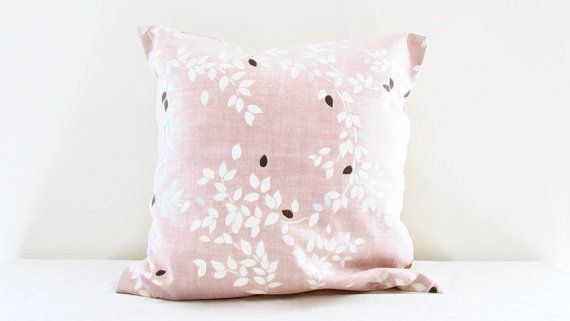 Pink pillow cover, light pink cushion cover, leaf pattern brown silver detail, country cottage style, throw pillow, handmade in the UK