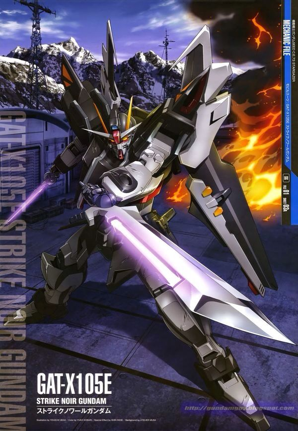 The GAT-X105E+AQME-X09S Strike Noir Gundam is a Mobile Suit in the OVA Mobile Suit Gundam SEED C.E. 73: STARGAZER and the manga Mobile Suit Gundam SEED C.E. 73 Δ Astray. It is piloted by Sven Cal Bayang.