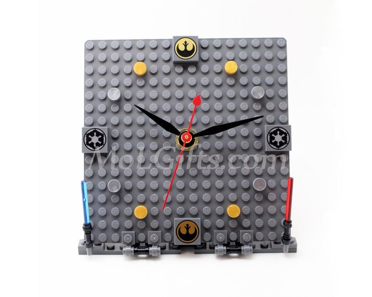 Star Wars Clock, Deluxe Model made from Star Wars LEGO (r) Pieces, Star Wars Imperial Clock by MoLGifts on Etsy https://www.etsy.com/listing/110219131/star-wars-clock-deluxe-model-made-from