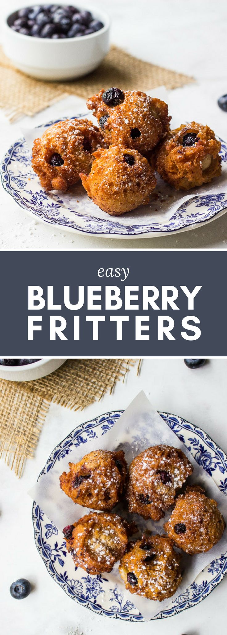 Lovely for breakfast, brunch, or dessert!! Serve with a dusting of powdered sugar or a dollop of whipped cream. // Easy Blueberry Fritters Recipe