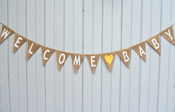 welcome baby burlap banner maternity photography prop baby shower