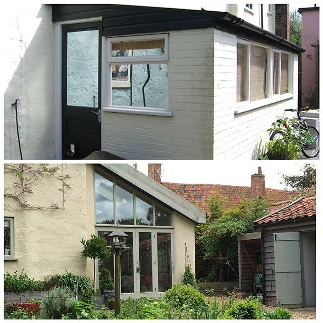 Old leaking lean to, replaced with garden room. Room With a View's (Diss) fabulous garden room project.