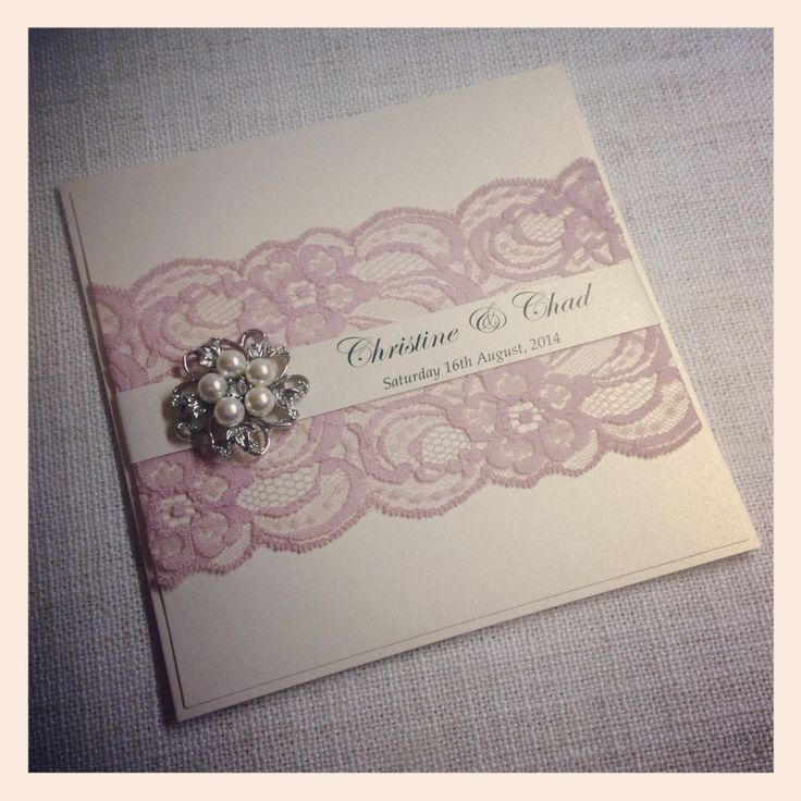 Dusty Pink Lace Wedding Invitation with pearl & diamante cluster1