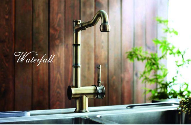 Retro dřezová baterie Bamboo  http://www.water-fall.cz/cz/koupelnove-baterie-luxusni-kuchynske/koupelnove-serie/baterie-bamboo/ a http://www.retrowave.cz/koupelnove-serie/waterfall/