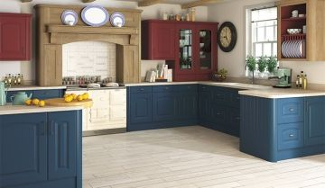 Bella Paintable Blue Kitchen - By BA Components. Leading trade and replacement kitchen door manufacturers.