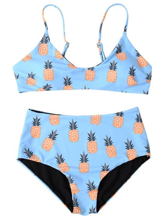 Spaghetti Strap Pineapple Print Women's Bikini Set - LIGHT BLUE M Mobile