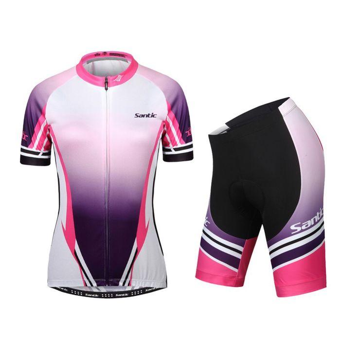 SANTIC Женщины Дышащий Велоспорт Высокой упругой Коротким Рукавом Джерси Женский MTB Велосипед Спортивная Велосипедов Одежда