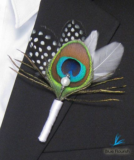 peacock boutonniere for groomsmen