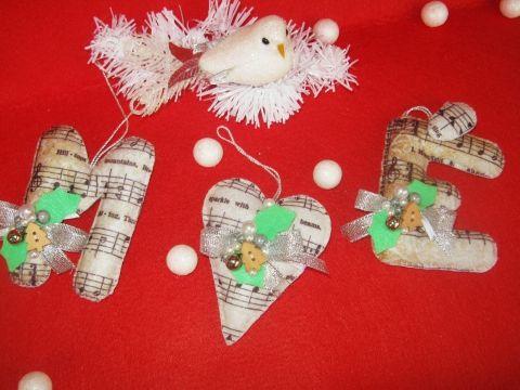 Karácsonyi betűpárok Szívvel, Dekoráció, Otthon, lakberendezés, Karácsonyi, adventi apróságok, Karácsonyfadísz, Meska