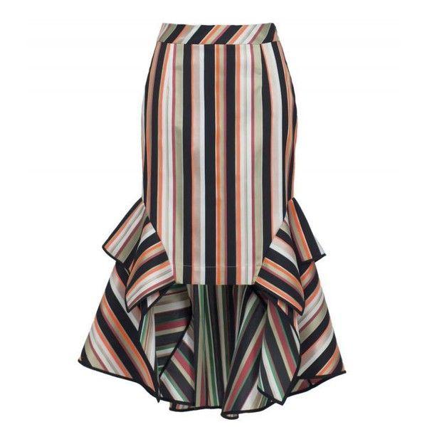 Theo Skirt With Asymmetric Hem (£435) ❤ liked on Polyvore featuring skirts, striped, stripe midi skirt, flounce skirt, asymmetrical hem skirt, calf length skirts and white midi skirt