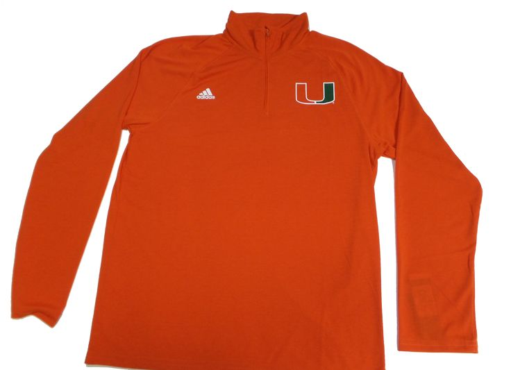 Miami Hurricanes adidas 1/4 Zip L/S Perfromance Shirt - Orange