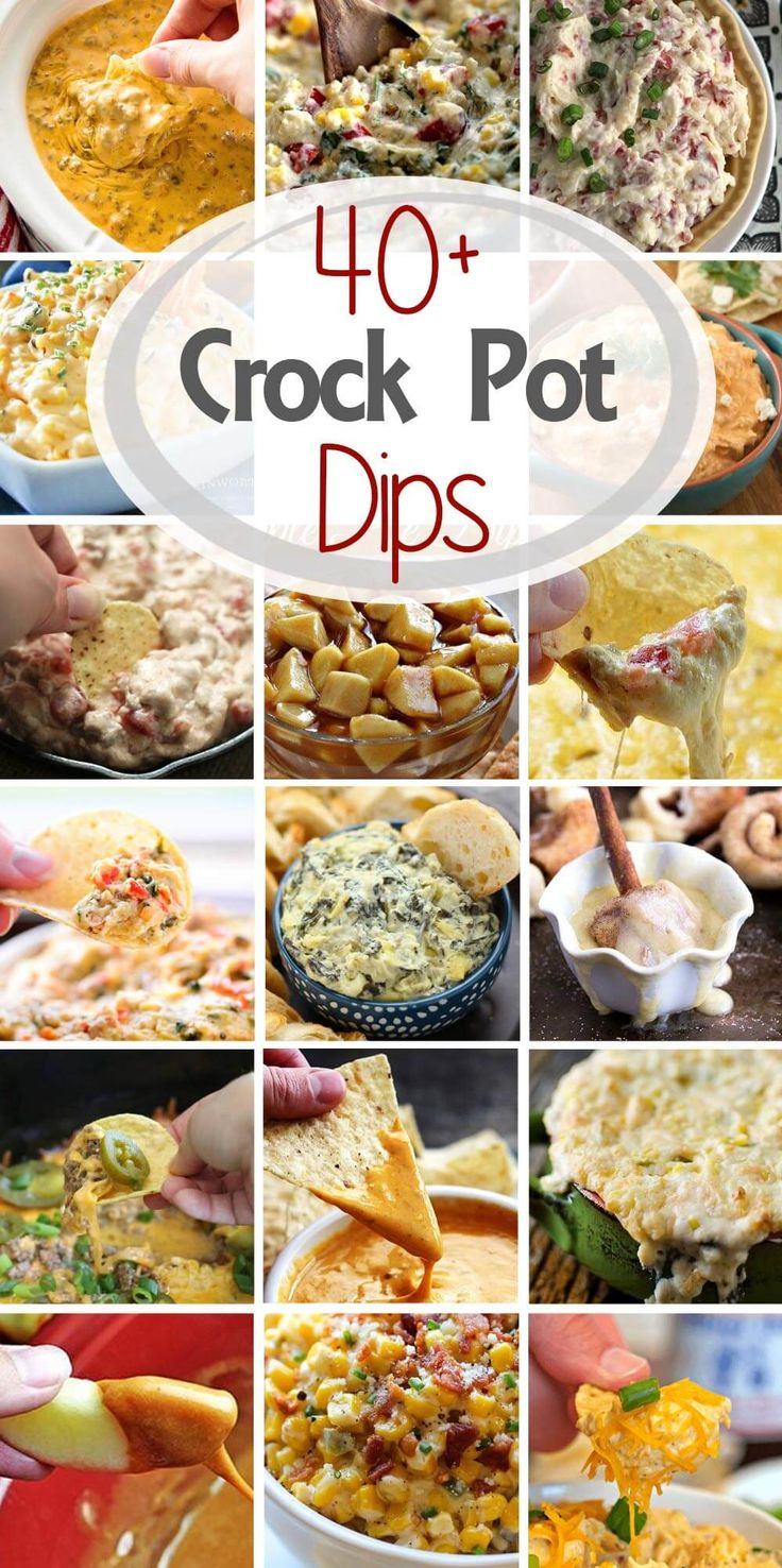 Check out these 40 Delicious Dip Recipes Made in the Slow Cooker! The Perfect Appetizers for Your Holiday Parties!  via @julieseats