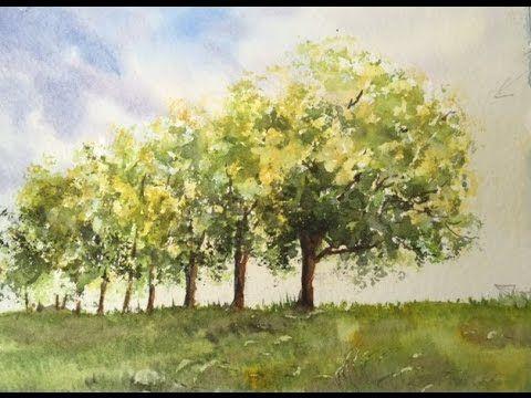 Группа Деревьев акварелью очень легко.Group of Trees , very easy in wate...