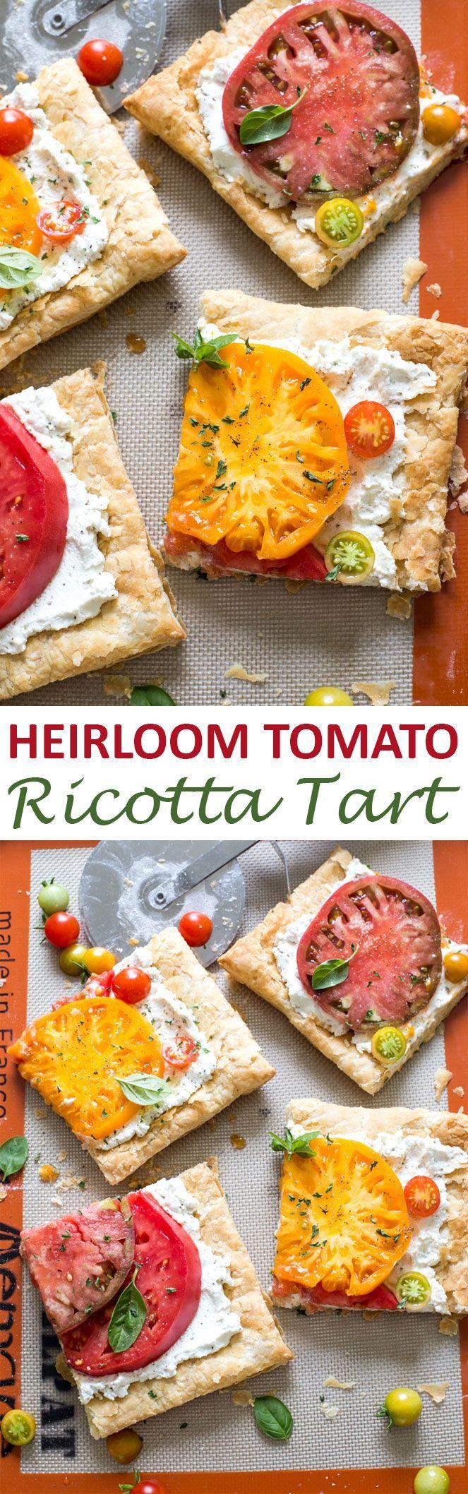 Super Colorful Heirloom Tomato Ricotta Tart. Ripe tomatoes layered ...