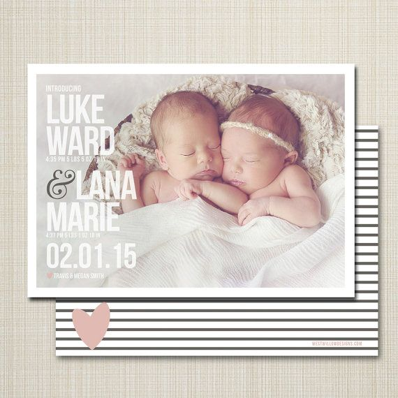 twin photo birth announcement  twins birth by westwillow on Etsy