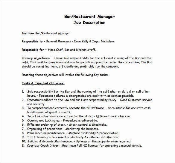 27 Bar Manager Job Description Resume In 2020 Restaurant