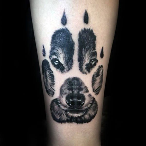 Realistic Wolf Paw Male Tattoo On Forearm  I'd like to have this as a painting of my dog Rock!