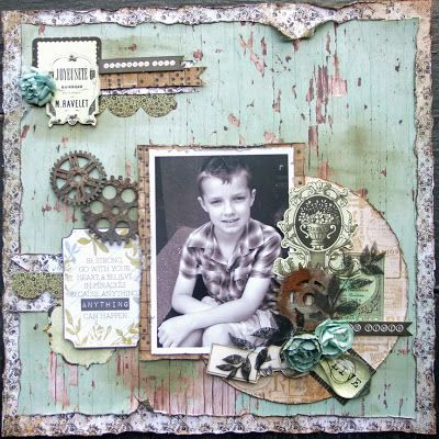 mix of Kaisercraf products for this with some Base Coat, 75 cents & Pickled Pear papers, 75 cents collectables, Wooden Flourish cogs, Paper Blooms in Sage & a Kaisercraft stamp
