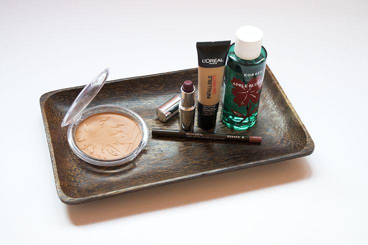 5 products you need this fall: Essence Sun Club Bronzer, L'Oreal 24H Matte Infallible, Korres Neutral Light Lip Pencil, Seventeen Plum Lipstick, Korres Apple Blossom Eau de Cologne