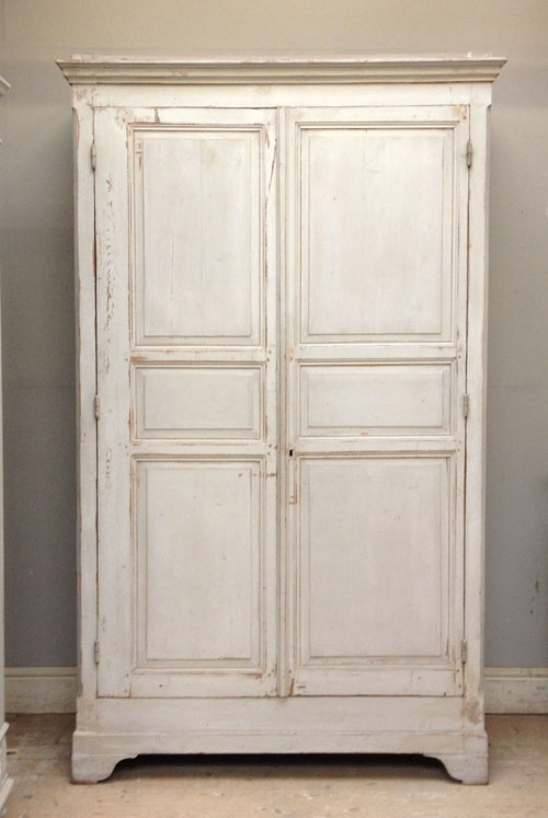 Battered Shabby Chic French armoire / cupboard - Pavilion Gray shades and original distressed paintwork