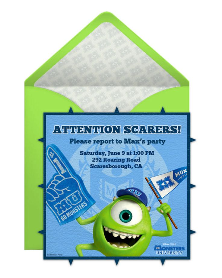 Monsters University Party Online Invitation