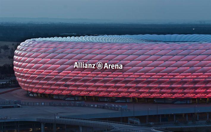 Download wallpapers Allianz Arena, Munich, 4k, football stadium, sports arena, Germany