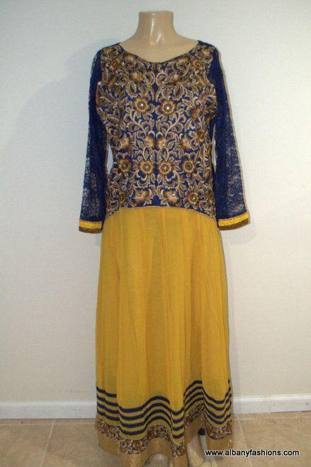 2869-Anarkali Churidar Suit-Yellow