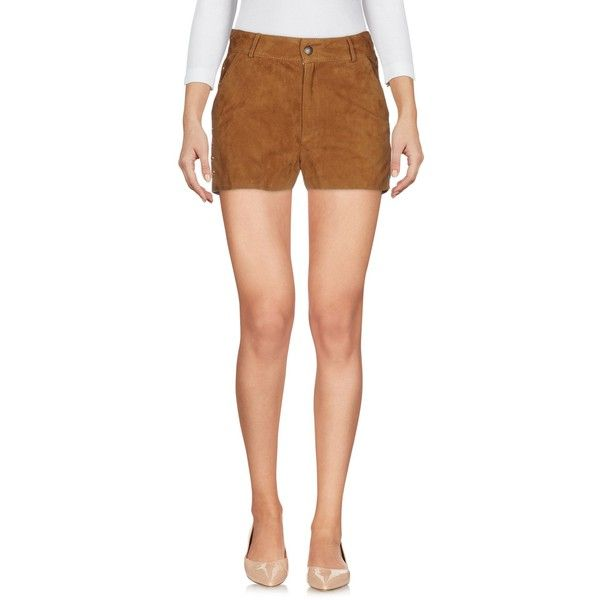 (+) People Shorts ($385) ❤ liked on Polyvore featuring shorts, camel, leather shorts, mid rise shorts, zip shorts, embroidered shorts and camel shorts