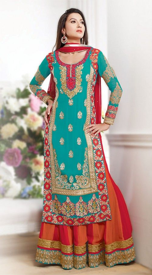 Gauhar Khan In Turquoise And Orange Anarkali Cum Lehenga BR150949