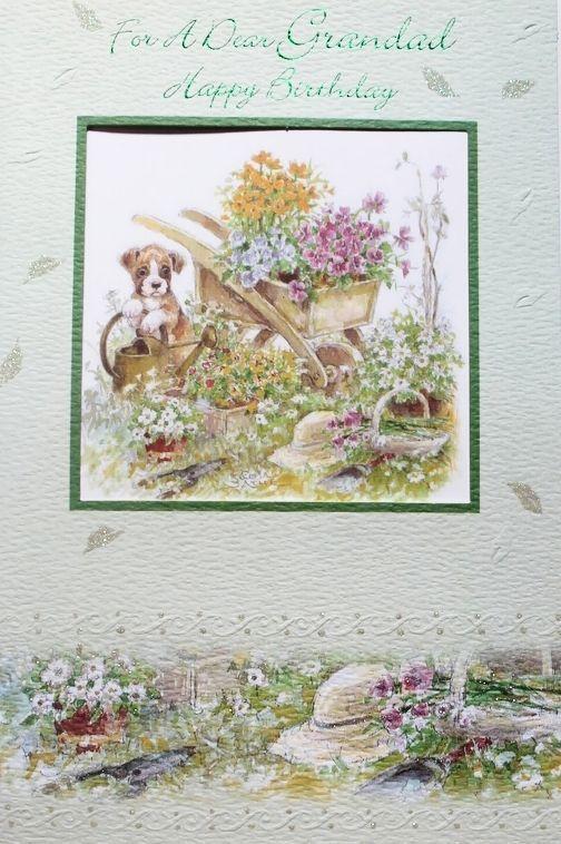 For a dear Granddad happy Birthday greeting card, dog & flowers theme, brand new