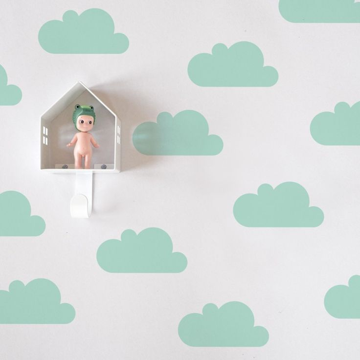 "Wandsticker ""Wolken"", mint"