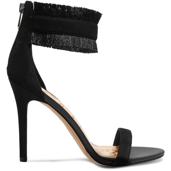 Sam Edelman Anabeth fringed suede sandals (1000 MAD) ❤ liked on Polyvore featuring shoes, sandals, black, strappy high heel sandals, black evening shoes, suede sandals, fringe high heel sandals and sam edelman sandals