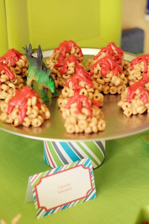 dinosaur party - cheerio volcano: Dino Mit 2Nd, 2Nd Birthday Parties, Dino Birthday, Krispie Treats, Dinosaurs Party'S, Dino Parties, Rice Krispie, Dinosaurs Parties, Rice Crispy Treats