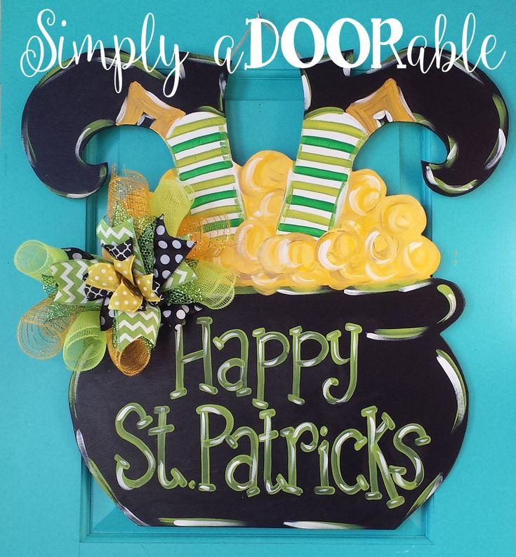 St. Patrick's Day Pot of Gold Wood Door Hanger by Simply aDOORable! St. Patrick's Day Decor, Pot of Gold Decor, St. Patrick's Day Wreath by SimplyaDOORableNC on Etsy