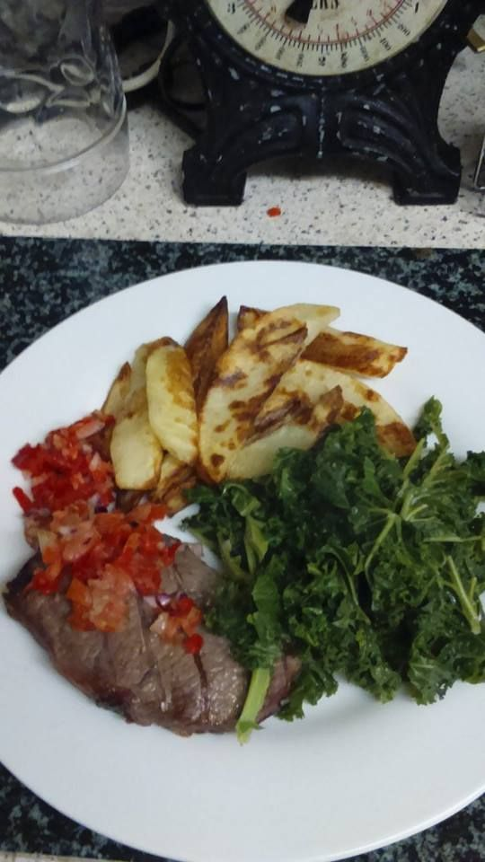 Steak, SW chips and kale - all free and very tasty