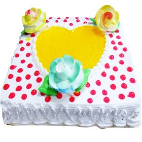 Send cake online and our rich Vanilla Cake will express your sweet loving sentiments on your behalf.  We use only the best ingredients in our Vanilla Cake and the beautiful creamy flower decorations make it all the more special. Surprise your loved ones with this thoughtful gift on their special day. Logon to Shop2Hyderabad for more varieties of special cakes.