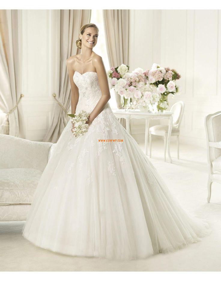 Cola Corte Elegante Apliques Vestidos de novias 2014