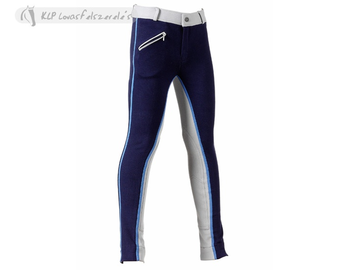 Daslo Bicolour Jodhpurs - In stretch knitted cotton (95% cotone e 5% spandex) 425 gr, slim cut with well fitting round backside, front zipped pocket and front embroidery on the left.