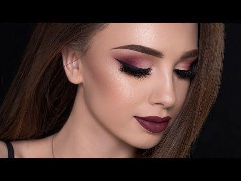 Burgundy Smokey Eyes & Bold Lips | Makeup Tutorial - YouTube This is gorgeous!!