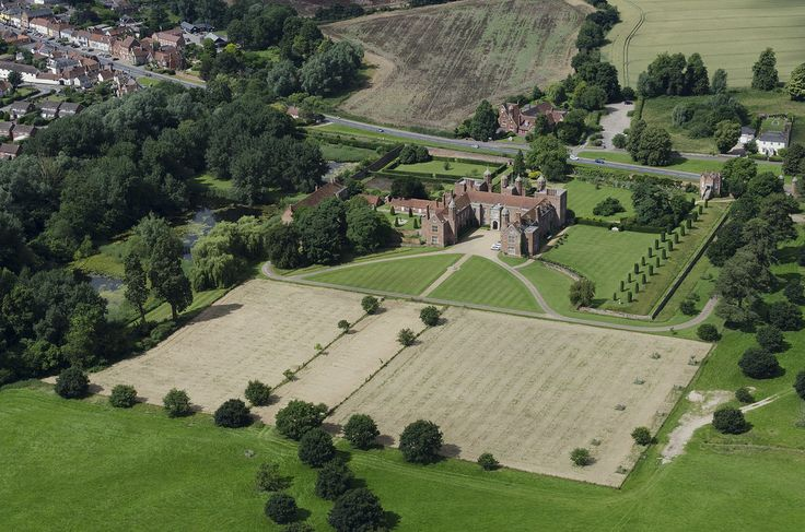 National Trust stately home property in Suffolk - Melford Hall - Long Melford. Aerial view