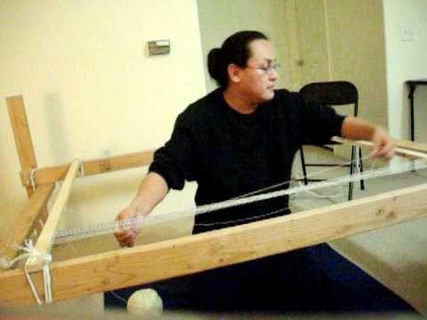 Navajo Weaving- Warping Loom - YouTube