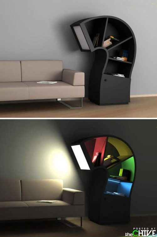 Bookcase/reading lamp!: Books, Idea, Sweet, Stuff, Bookcase Reading Lamp, Creative Lights Lamps Awesome, Products, Reading Lamps, Design