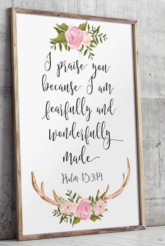 Nursery bible verses Psalm 139:14 I praise by TwoBrushesDesigns                                                                                                                                                                                 Plus